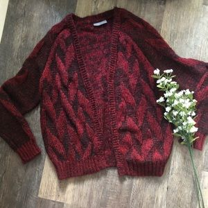 Wooden Ships | Red & Black Mohair Wool Cardigan